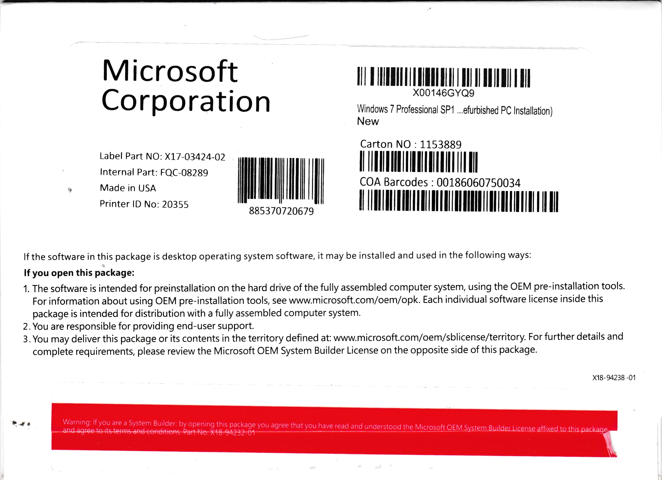 Image of Windows 7 Pro OEM Package with Product Keys.jpg