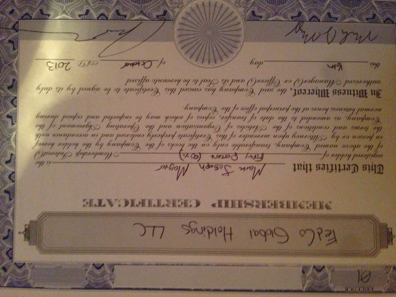 How to fill out an llc membership certificate i am filling out llc membership certificates and was wondering a where both members of the llc sign the document and b what the back of the document is xflitez Gallery