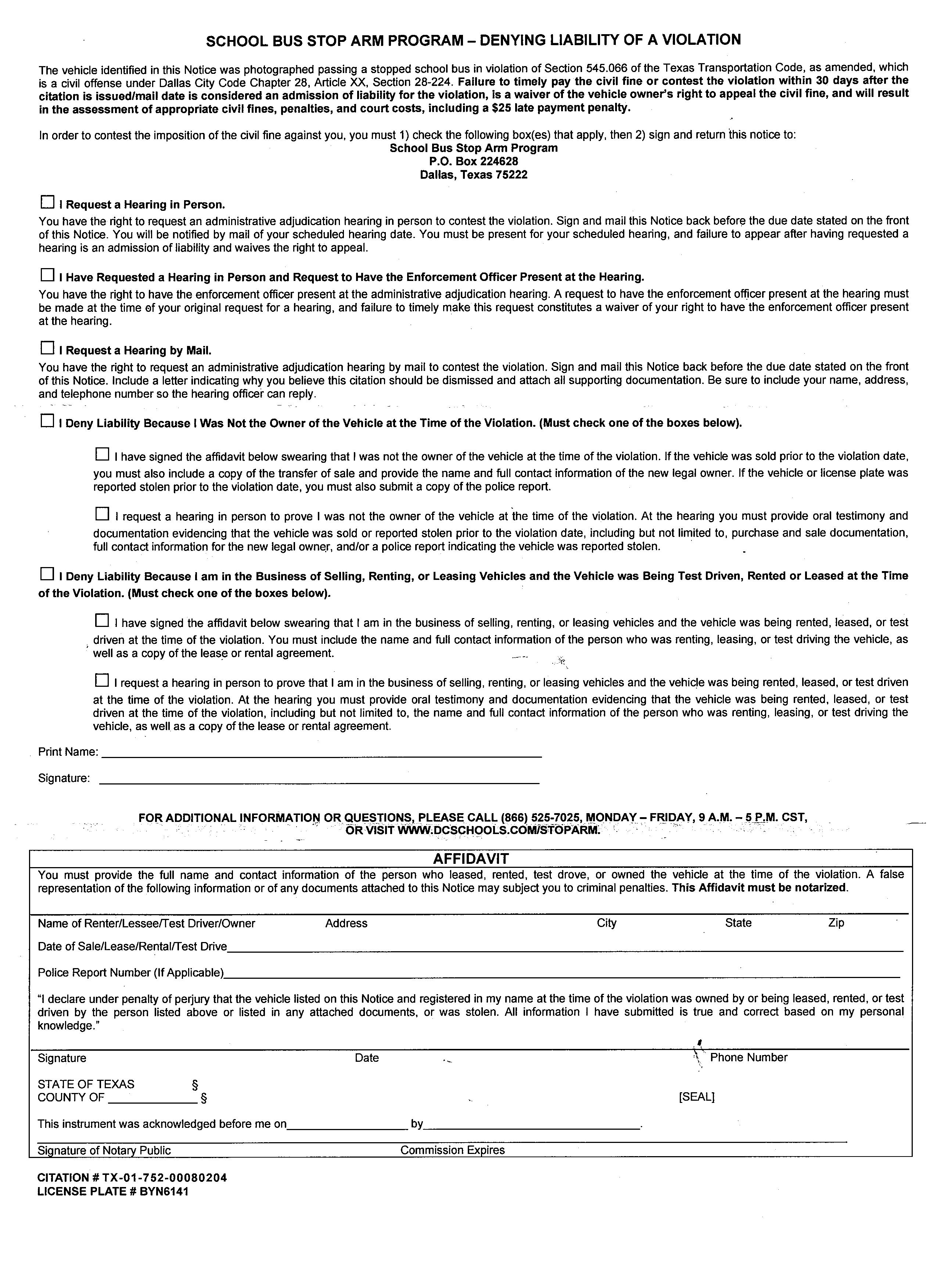 Contesting Violation Form