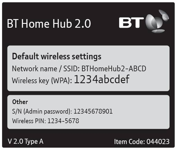 Wireless settings label