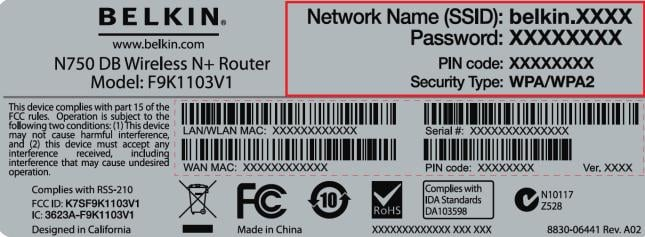 Belkin N450 DB unique Network Name (SSID) and a Password (WPA Key)