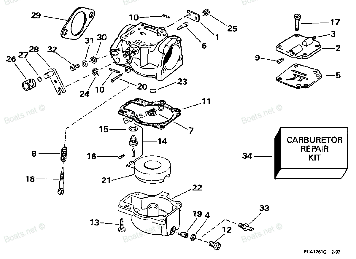 where does the fuel line that comes out from under the choke chamber connect to in a 40hp