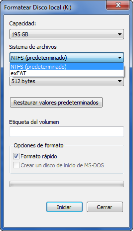 Asistente de formateo de Windows