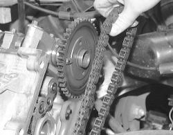 Remove the timing chain from around the camshaft pulley