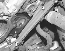 Remove the timing chain guide retaining bolts
