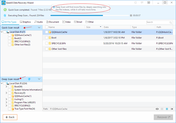 Scan the selected partition to recover lost files after reinstalling Windows