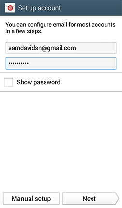Email Username and Password