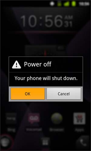 Power off confirmation with OK