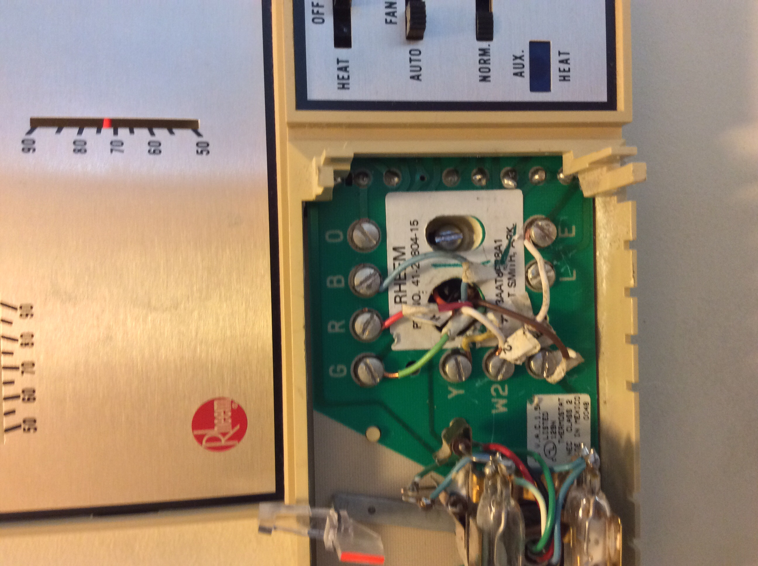I Am Replacing A Rheem Thermostat With Honeywell Rth6500wifi Wiring Image