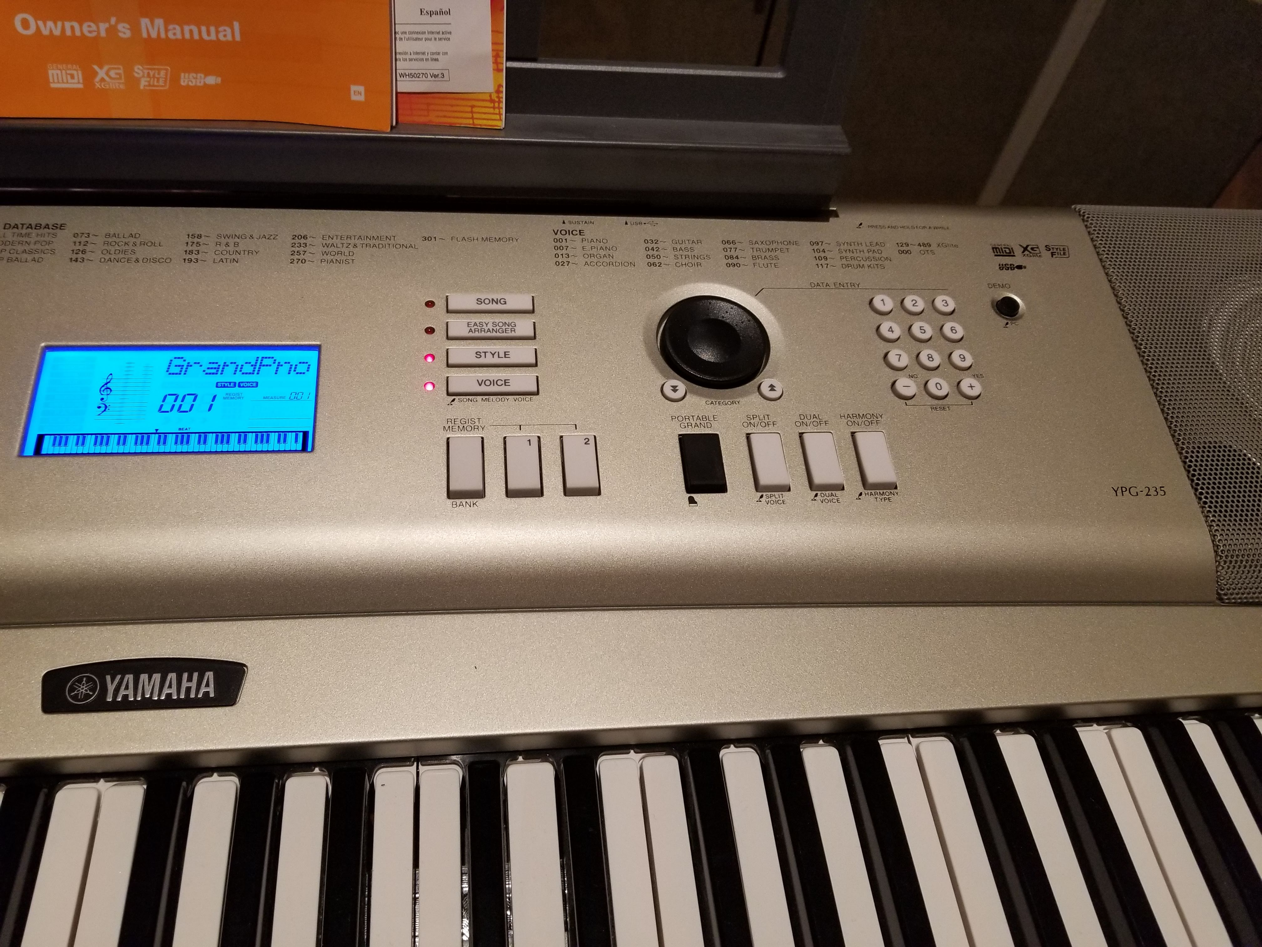 I own a Yamaha YPG-235/DPG-230 electric keyboard  I just put