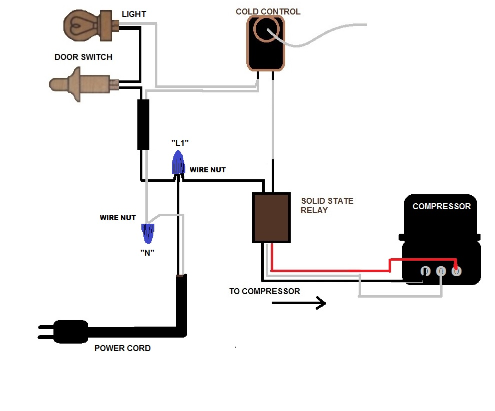 Fridge Compressor Start Relay Wiring Great Installation Of Ptc Refrigerator Diagram I M Replacing The Power Cord On My Vintage Potential