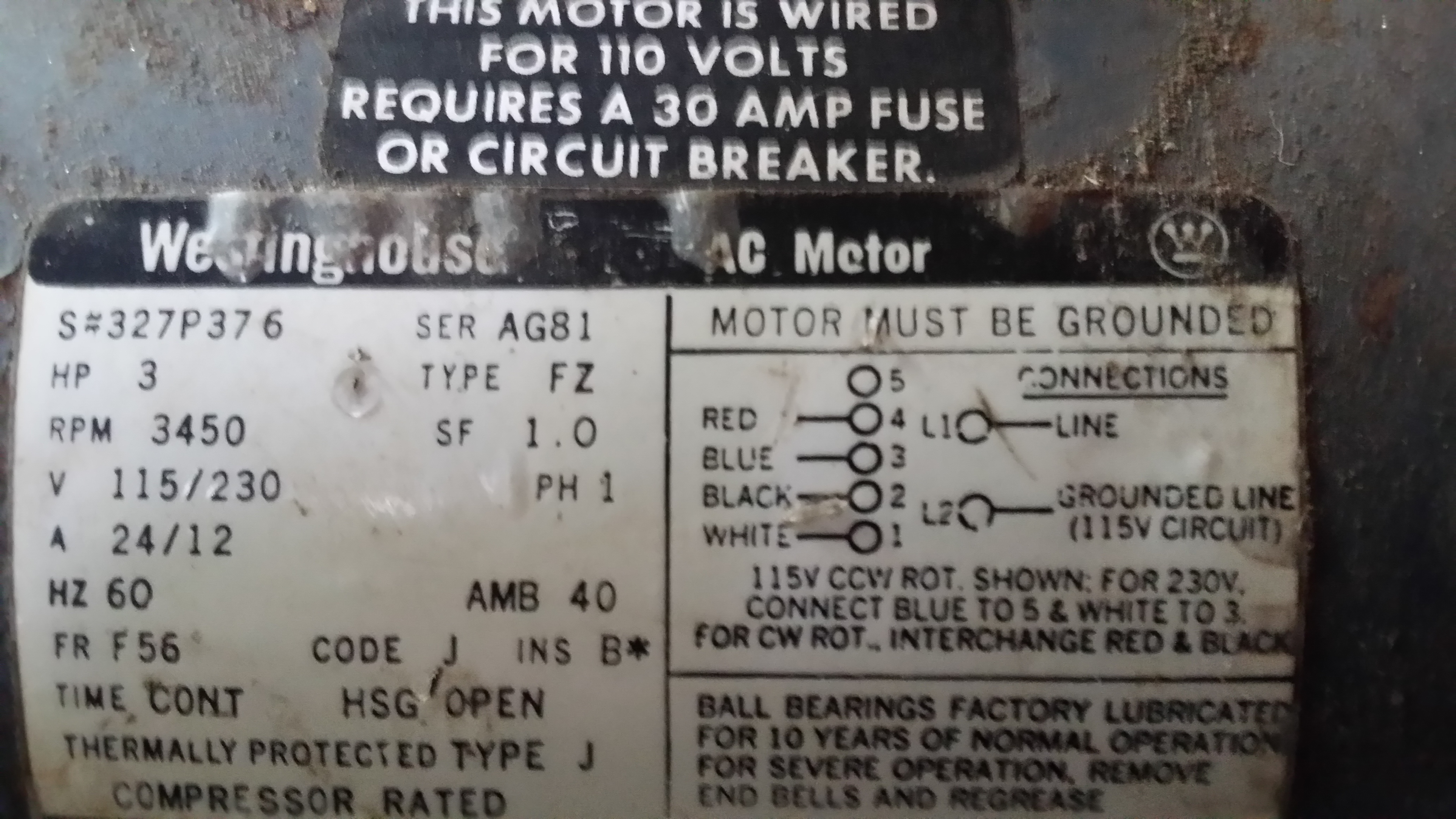 I Have A 3hp Westinghouse Electrical Motor On Sanborn Air Dayton Wiring Diagram 5k960b Joemotor1