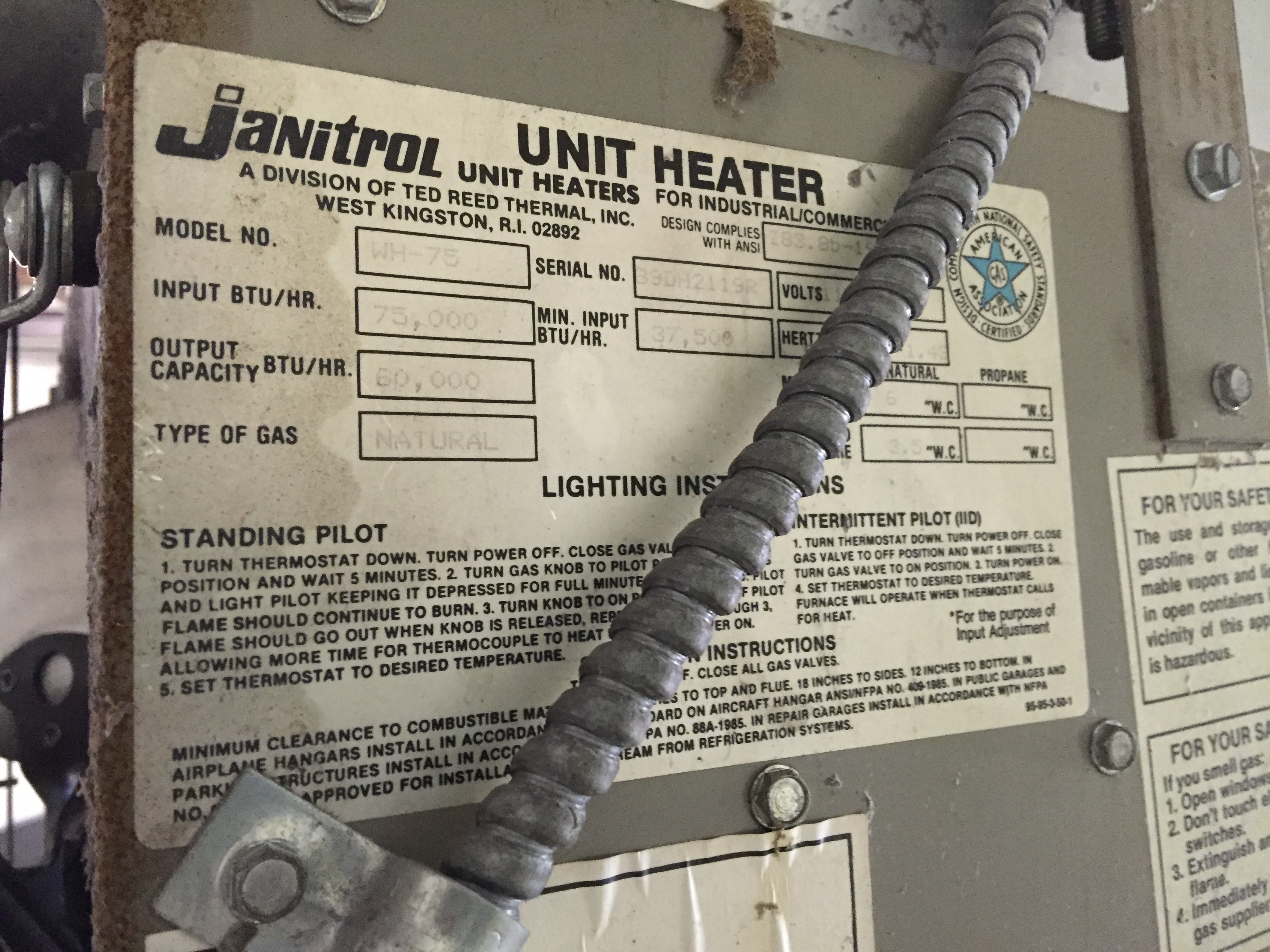 i have 2 janitrol wh 100 heaters i have not used them for