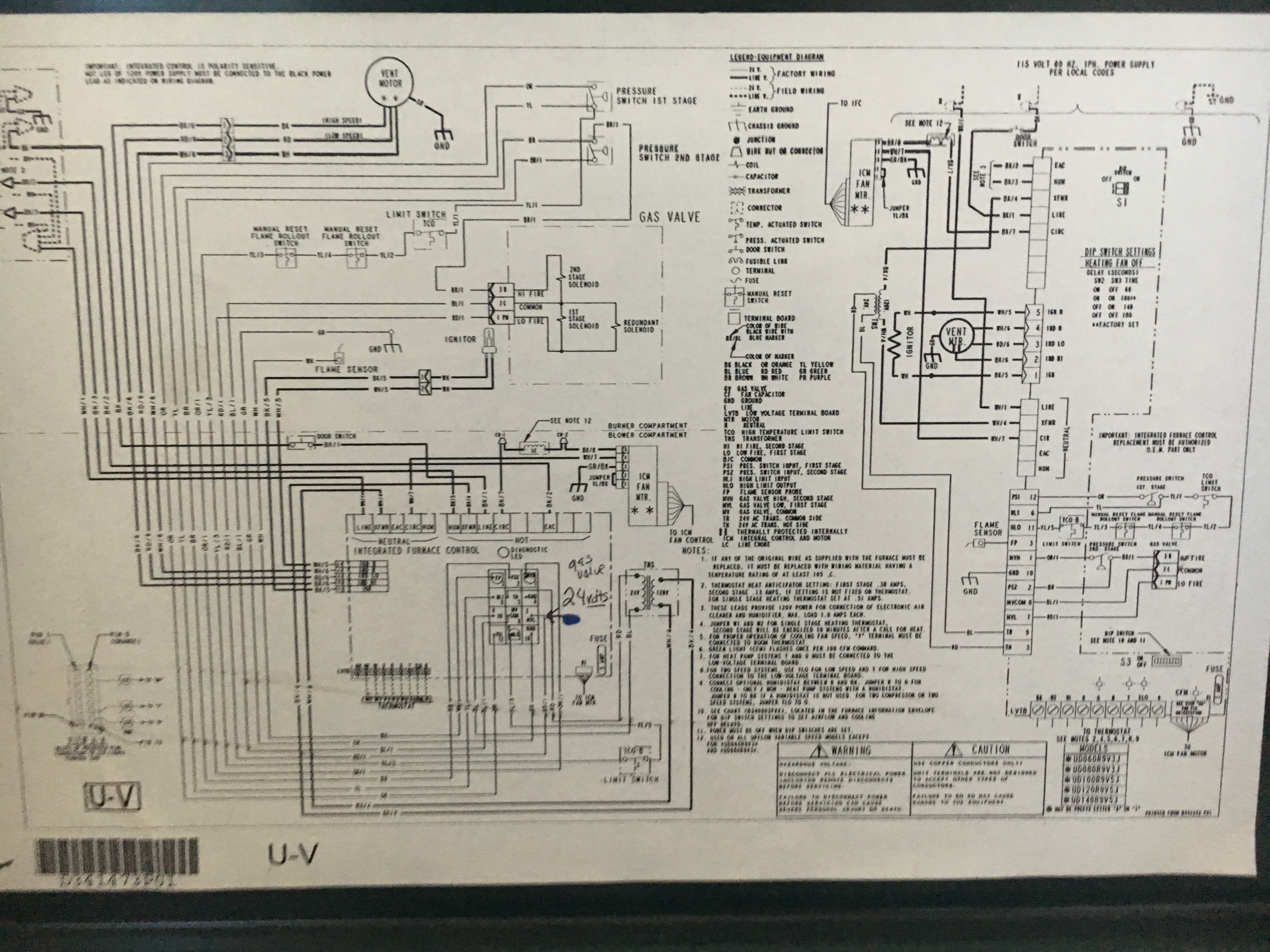 Furnace Turns Off After Running For A Minute Or Wont Turn On At This Is The Wiring Diagram I Goti Did Not Wire It Like All Power Outage Couple Days Ago Seems To Have