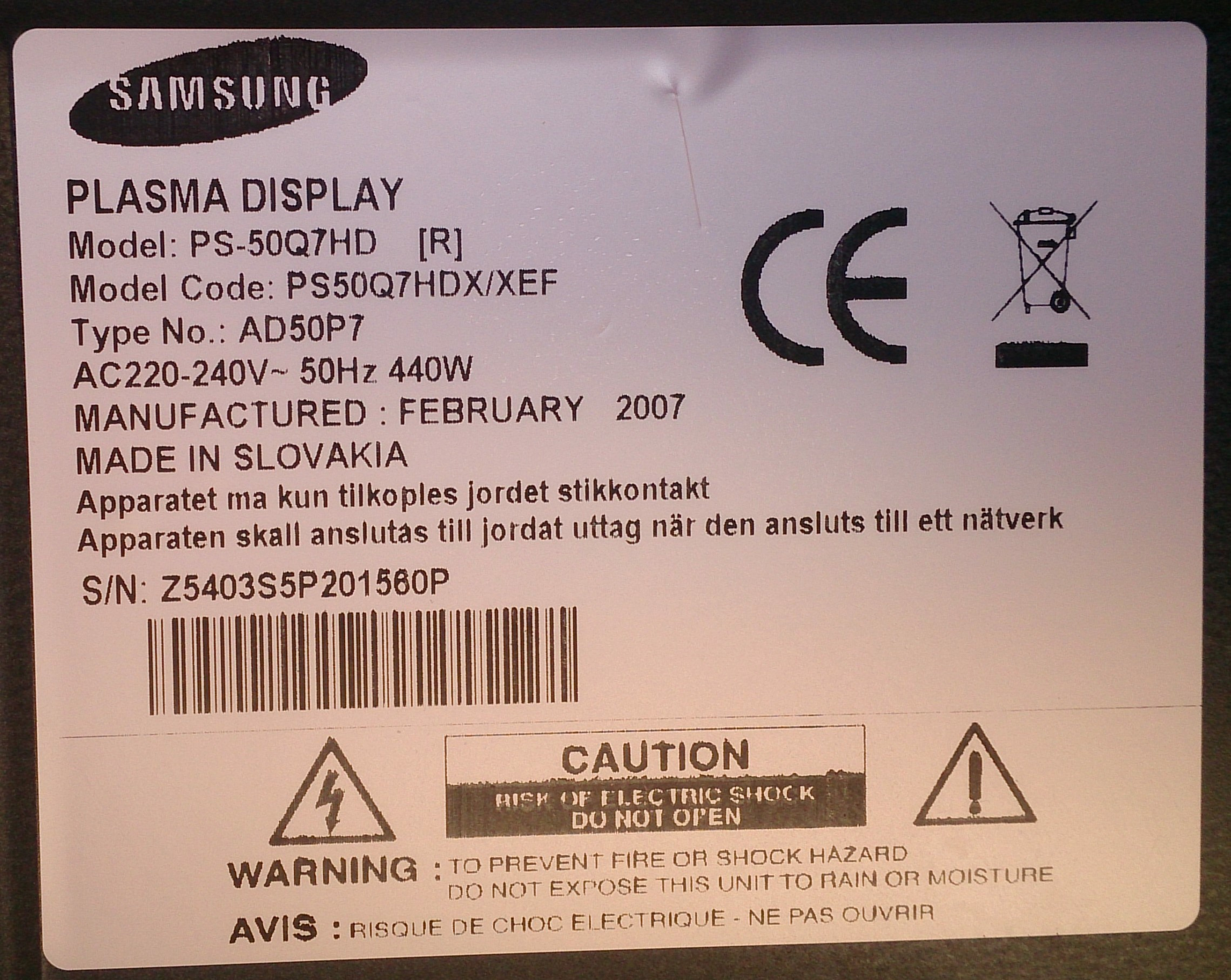 PLAMA DISPLAY SAMSUNG PS-50Q7HD (20).JPG