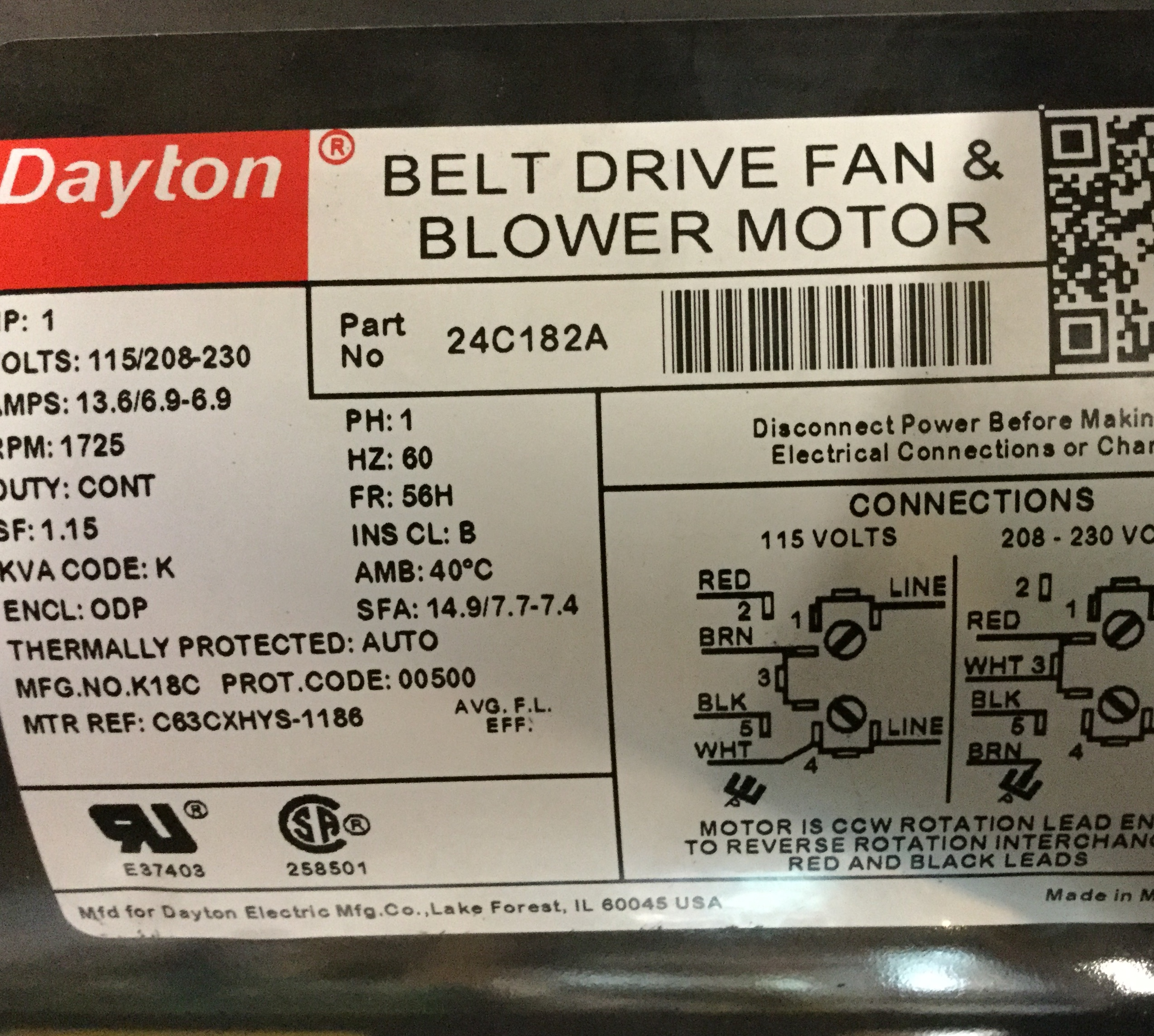 I Just Received A 1 Hp Dayton 24c182 A Single Phase Replacement Power Source For My Old Rockwell Delta 17 600 Variable