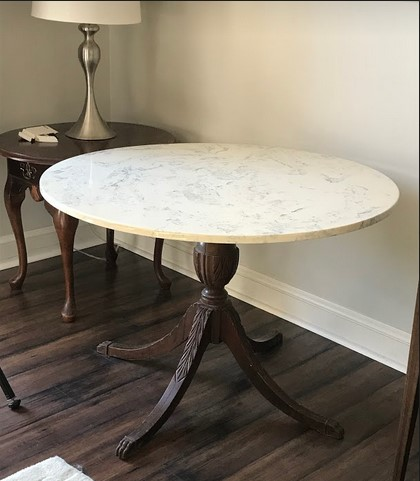 antique table leg - cultured marble top.jpg