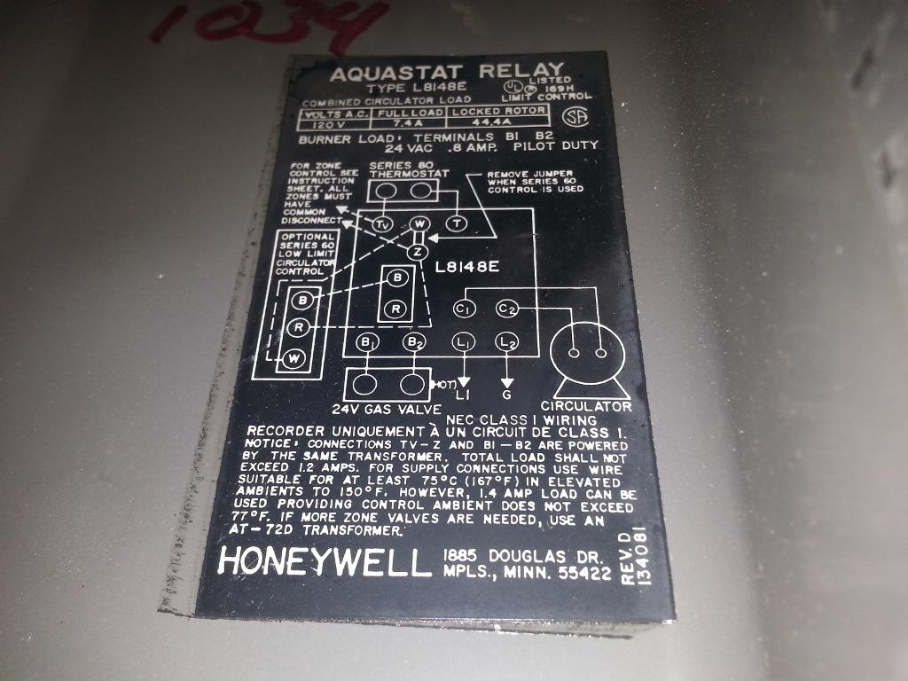 got a honeywell aquastat l8148e1034 that has stopped. Black Bedroom Furniture Sets. Home Design Ideas