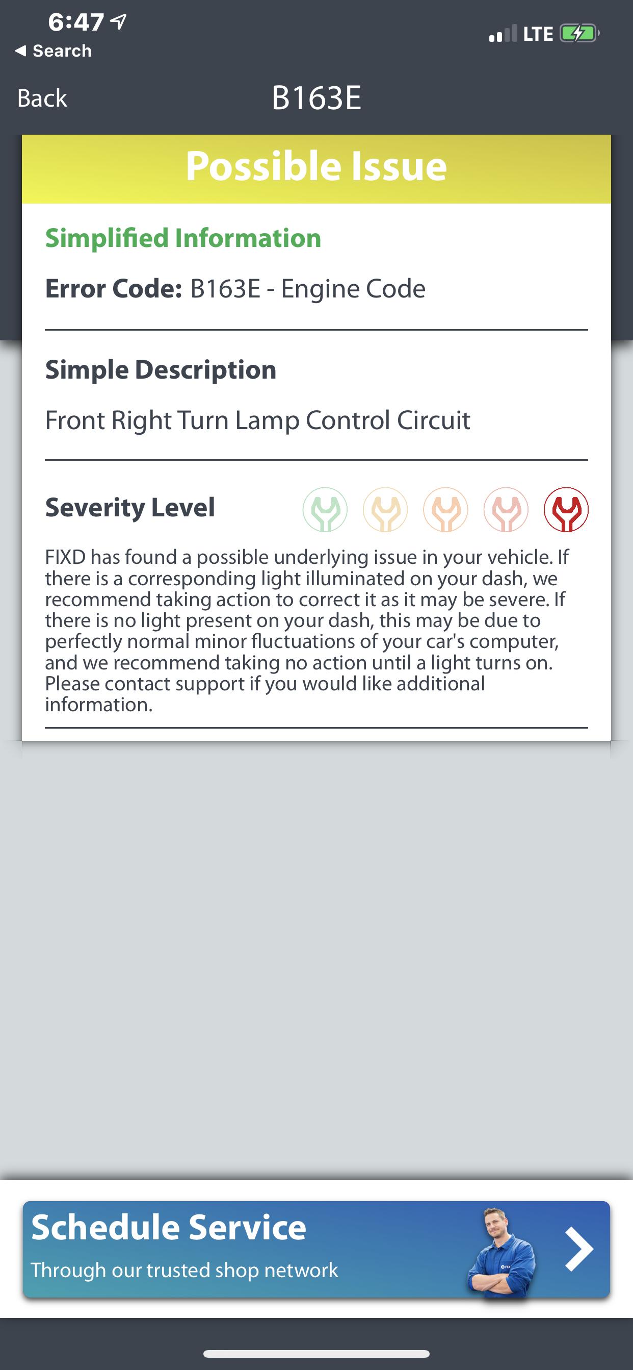 I got B163E-Engine code description says Front right turn lamp