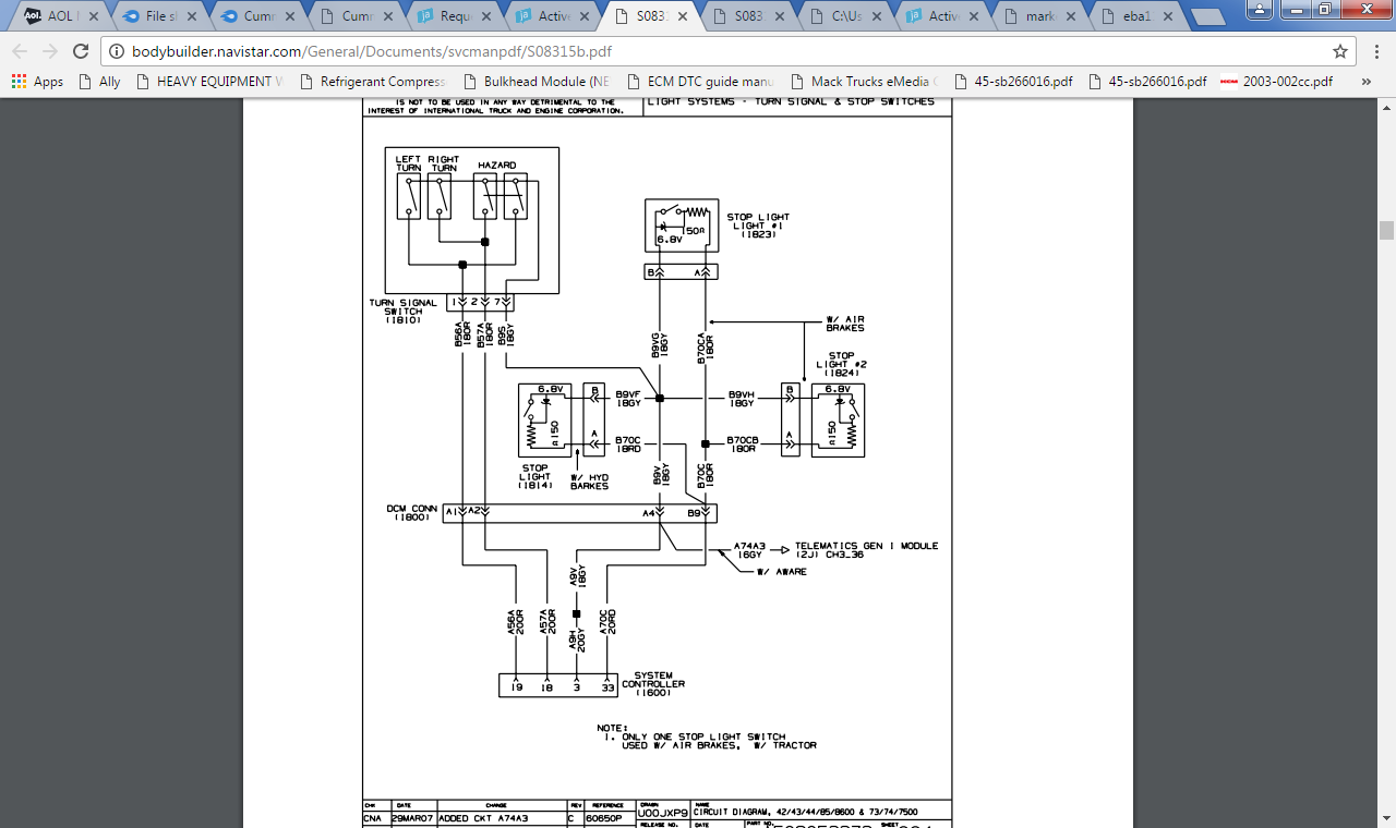 wiring lights diagram for international dt4300 series