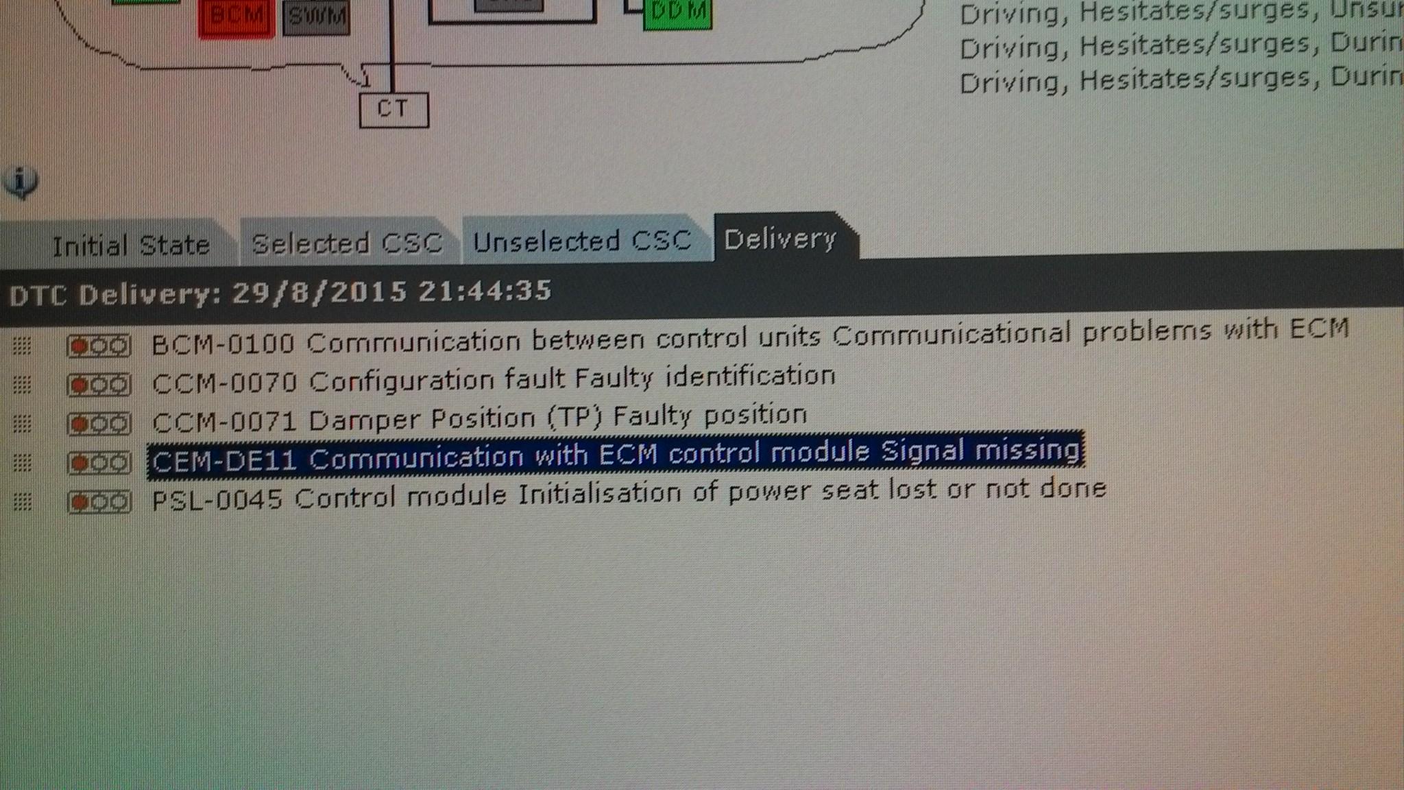 CEM-DE11 / BCM-0100 error on VOLVO C30 T5 2009  module ECM