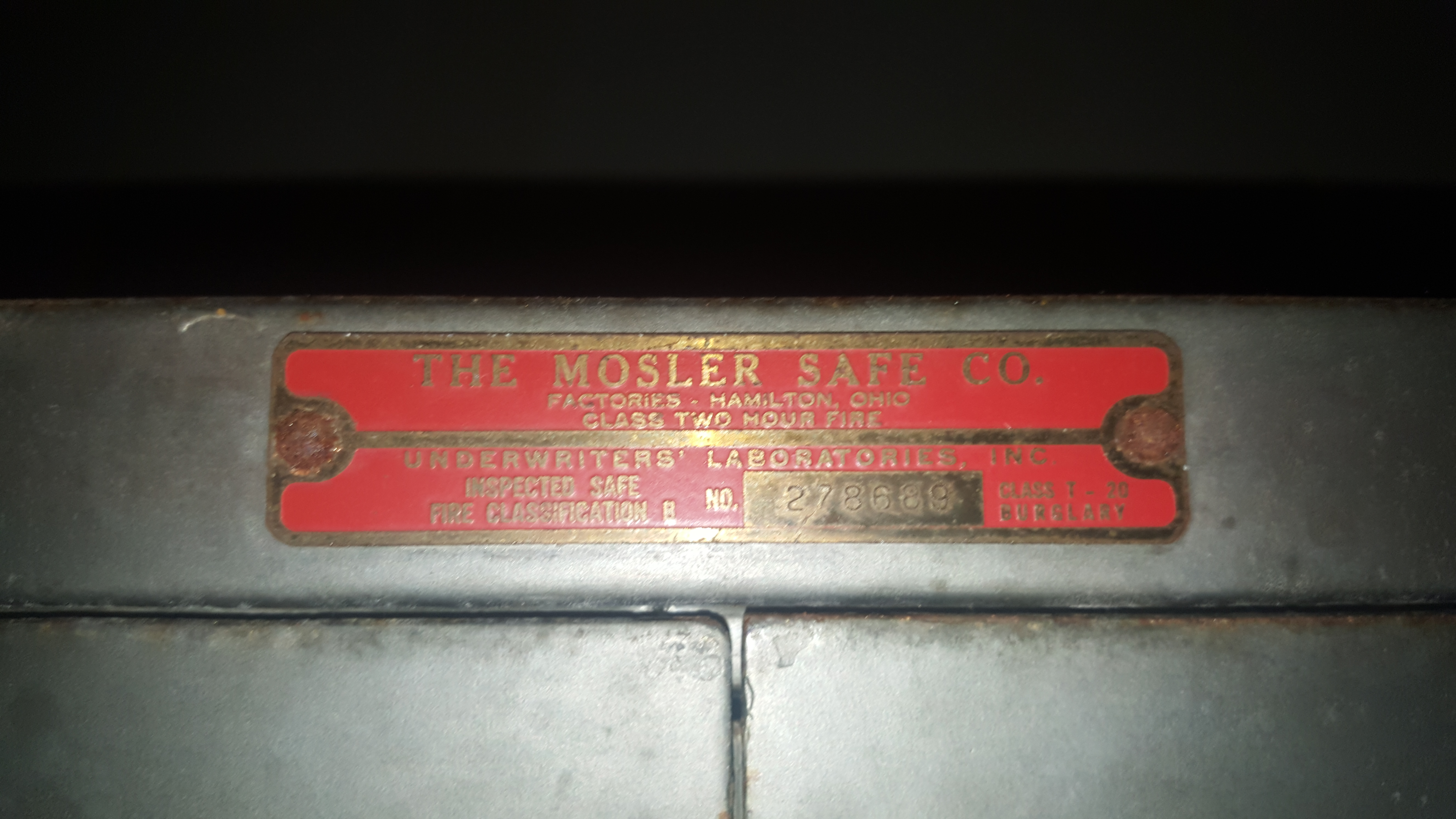 Got a MOSLER SAFE VERY OLD Underwriters listed T-20 CLASS