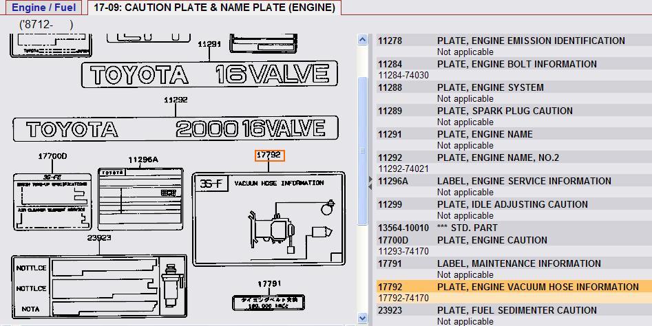 Do You Have A Vacuum Hose Information Diagram For A Toyota