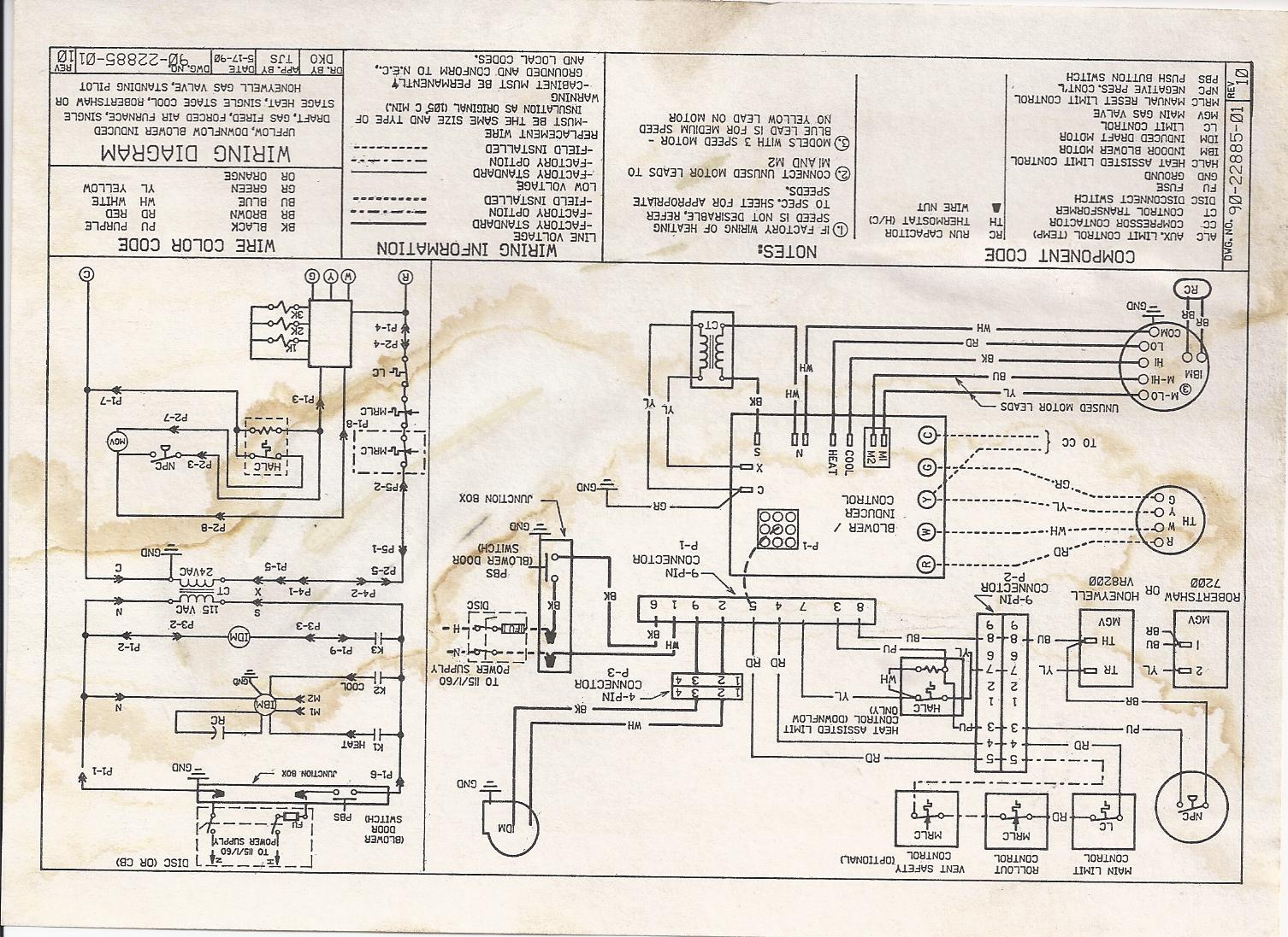 old oil furnace wiring diagram my ruud indoor blower runs all the time, i have been told ... old carrier furnace wiring diagram