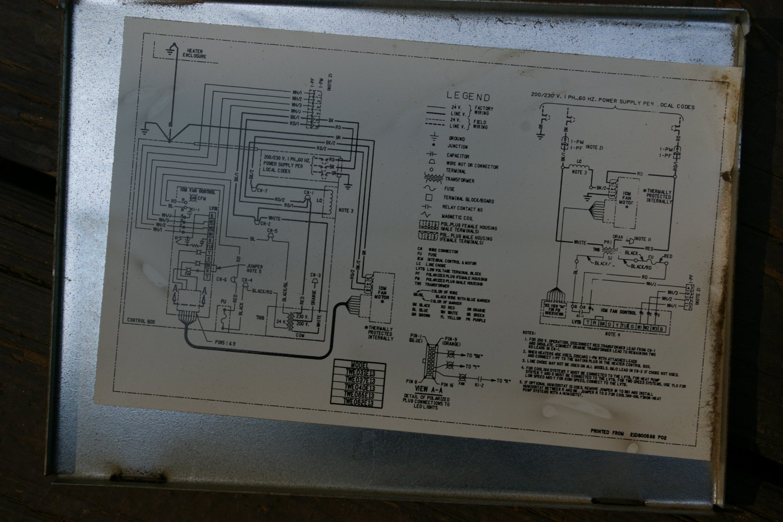 I Have A Trane Model Twe031e130a1 Air Handler  It Is Part