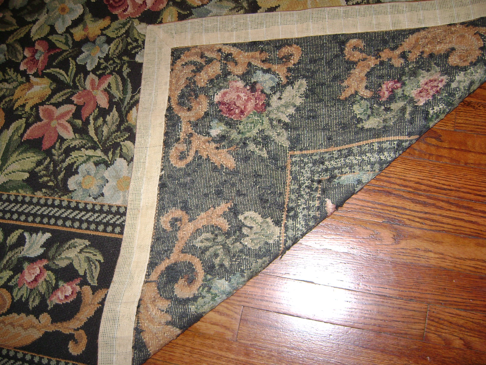 Cynthia's floral needlepoint rug 2