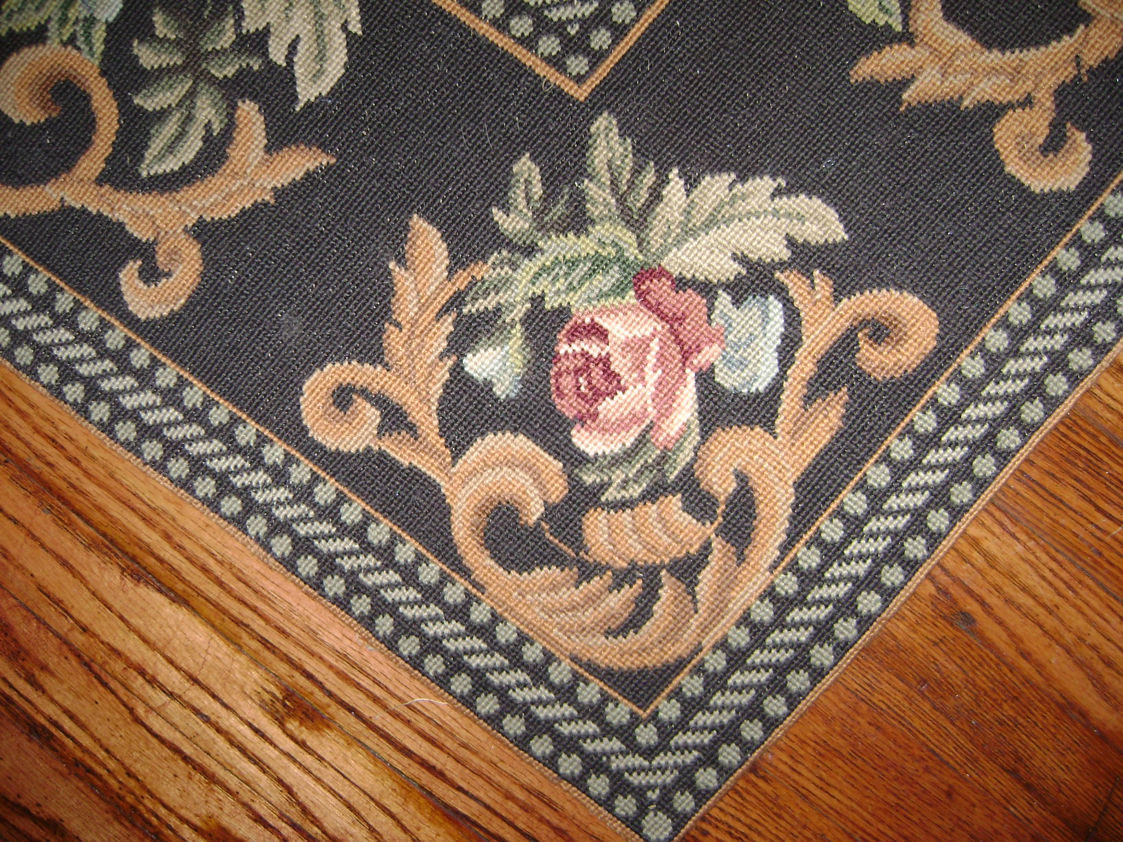 Cynthia's floral  needlepoint rug 3