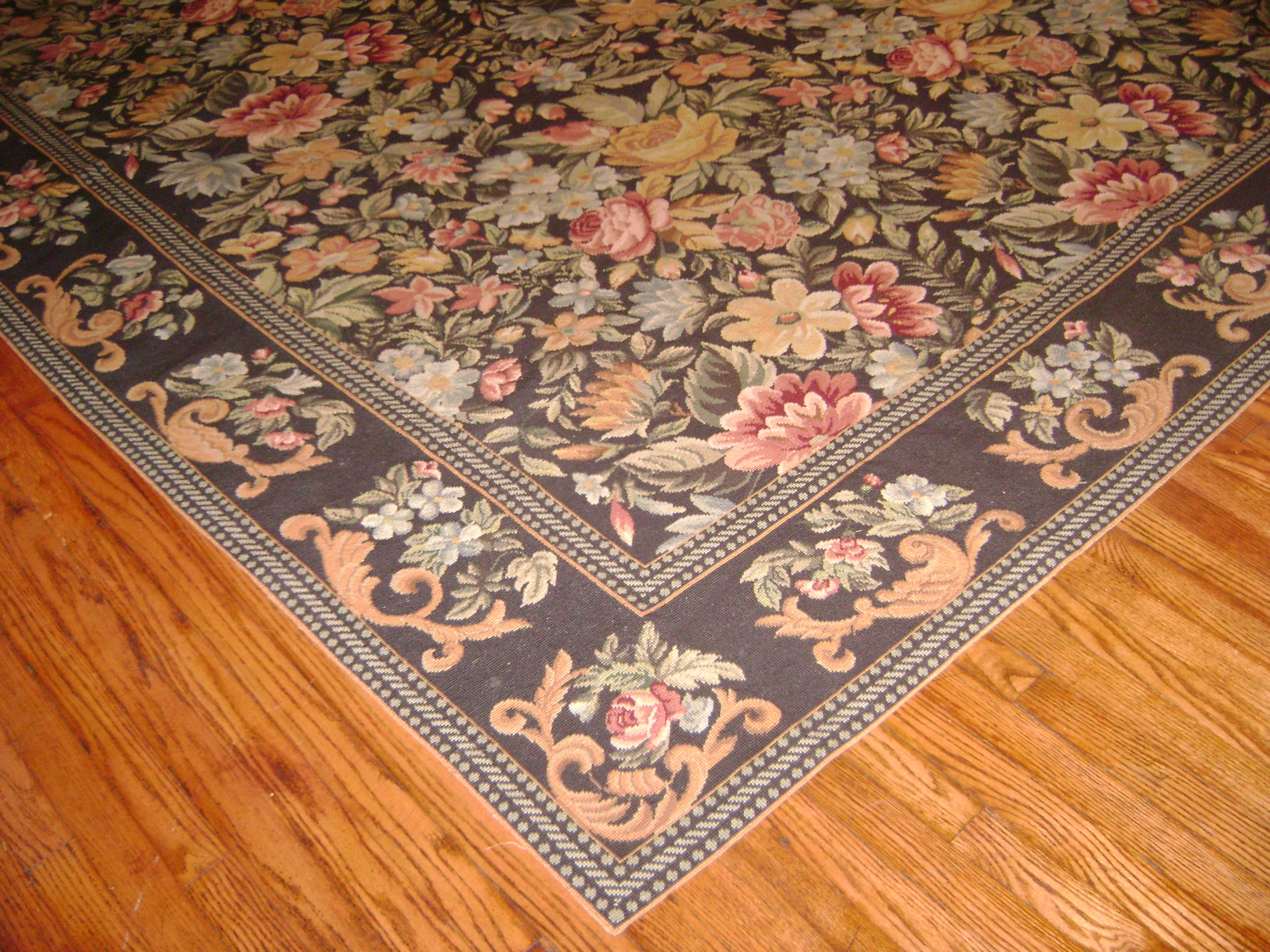 Cynthia's floral  needlepoint rug
