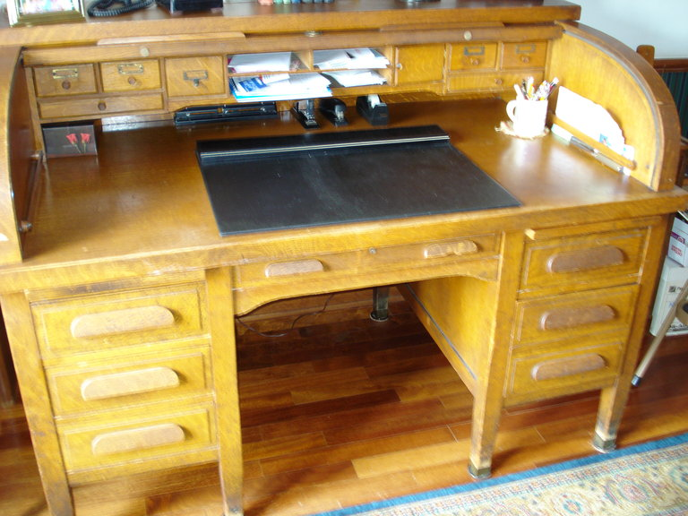 Full Size Image - I Have A Rishel Oak Roll Top Desk; 5'x3' With 1 3/4