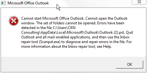 I have errors in my  pst file in Outlook  I ran the repair