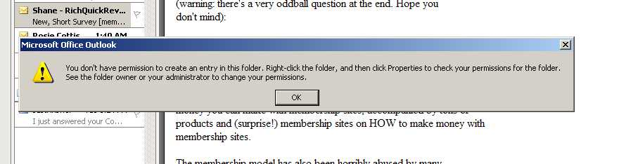 How do I change folder access permissions in MS Outlook 2003