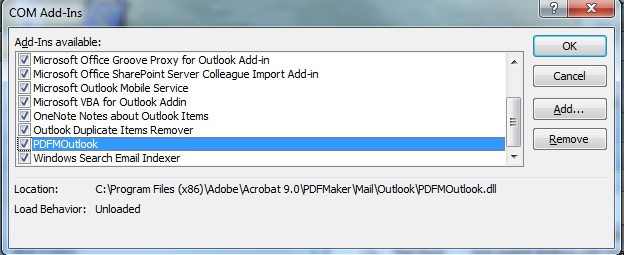acrobat pdfmaker office com add in keeps disabling
