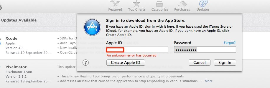 mountain lion mac app store error