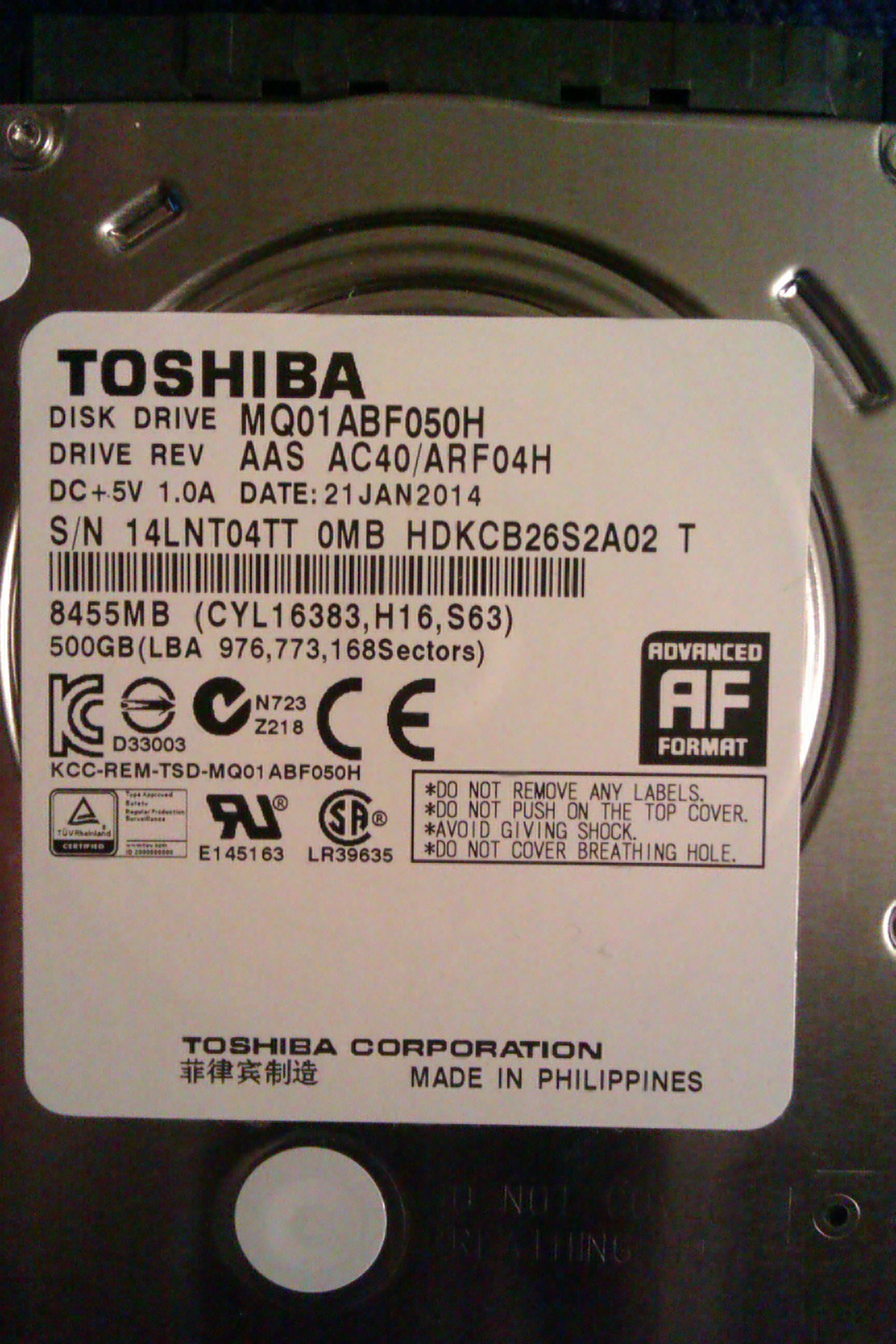 Trying to load factory discs on new toshiba hard drive gets
