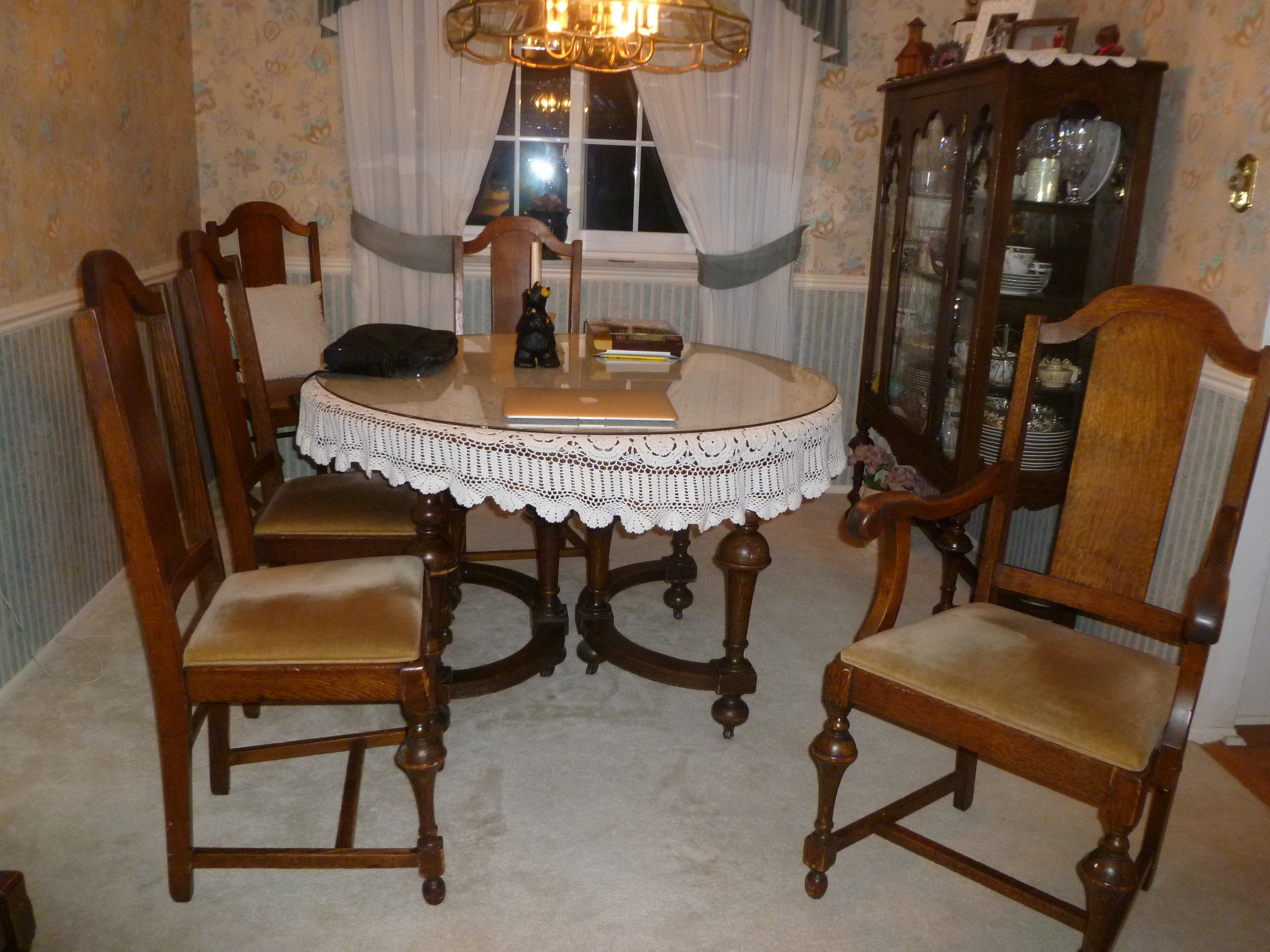 1880s tiger oak round dining set 6 chairs, hutch and china