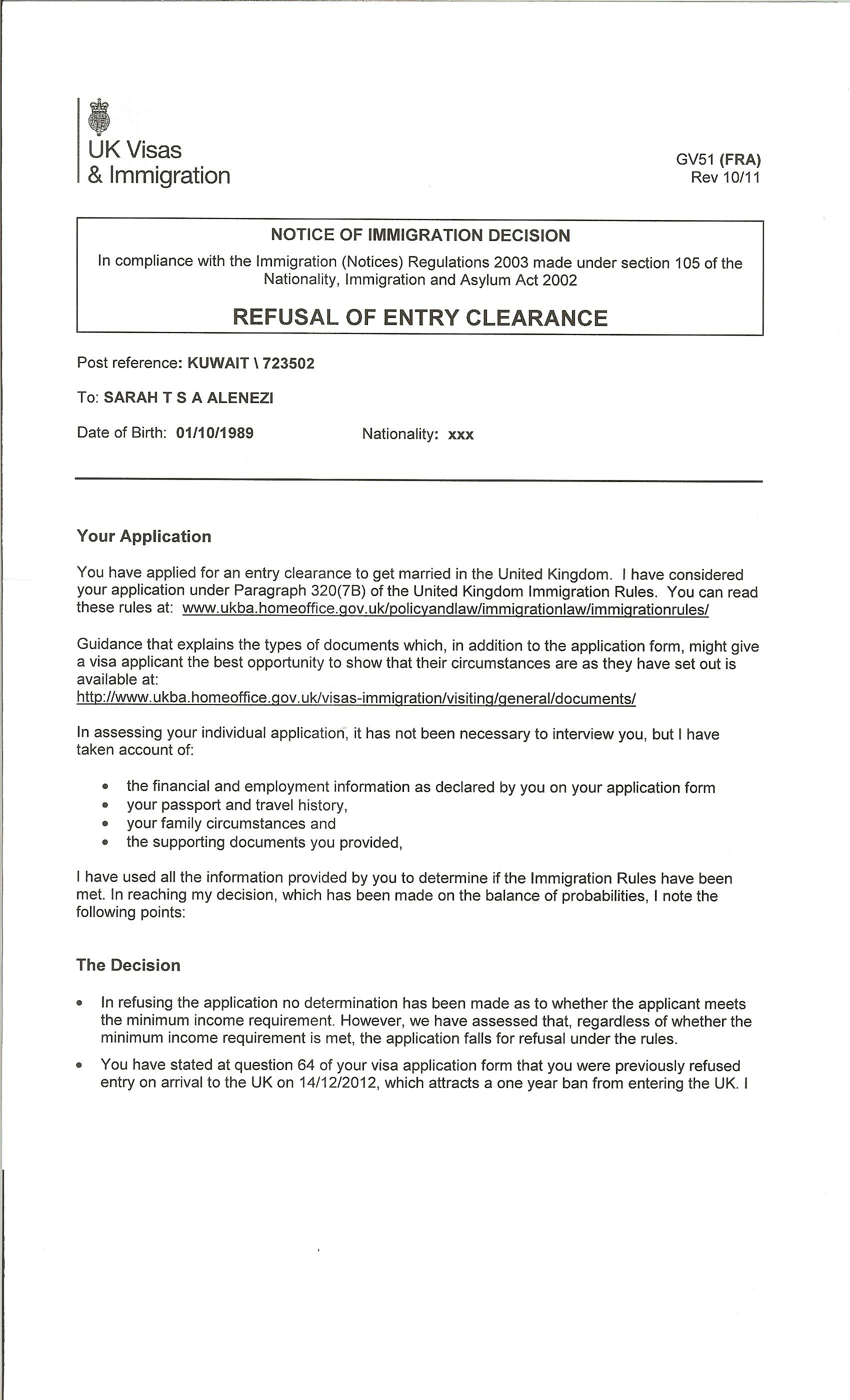 Cover letter for spouse visa uk