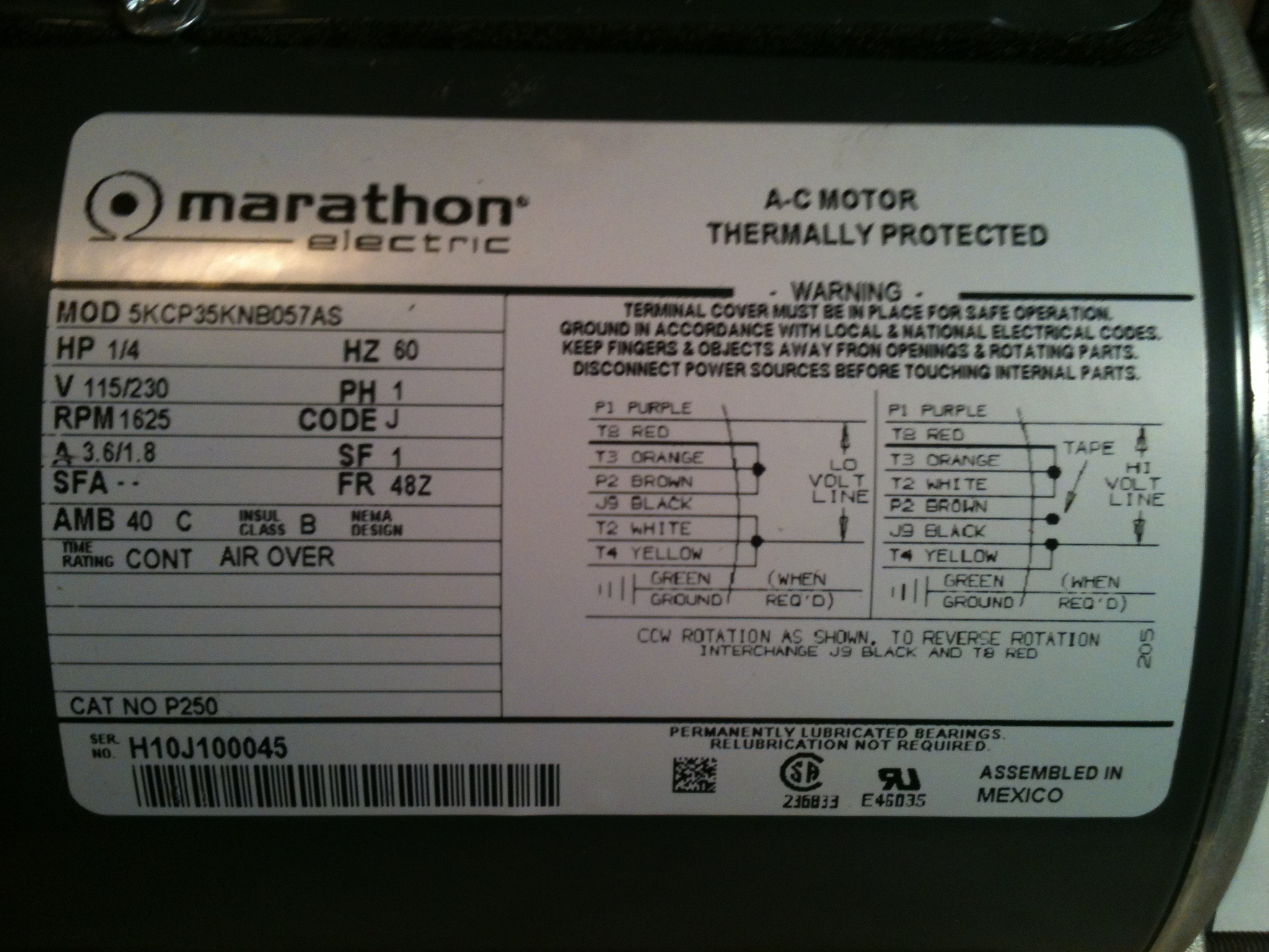 need help with marathon electric ac motor wiring rh justanswer com
