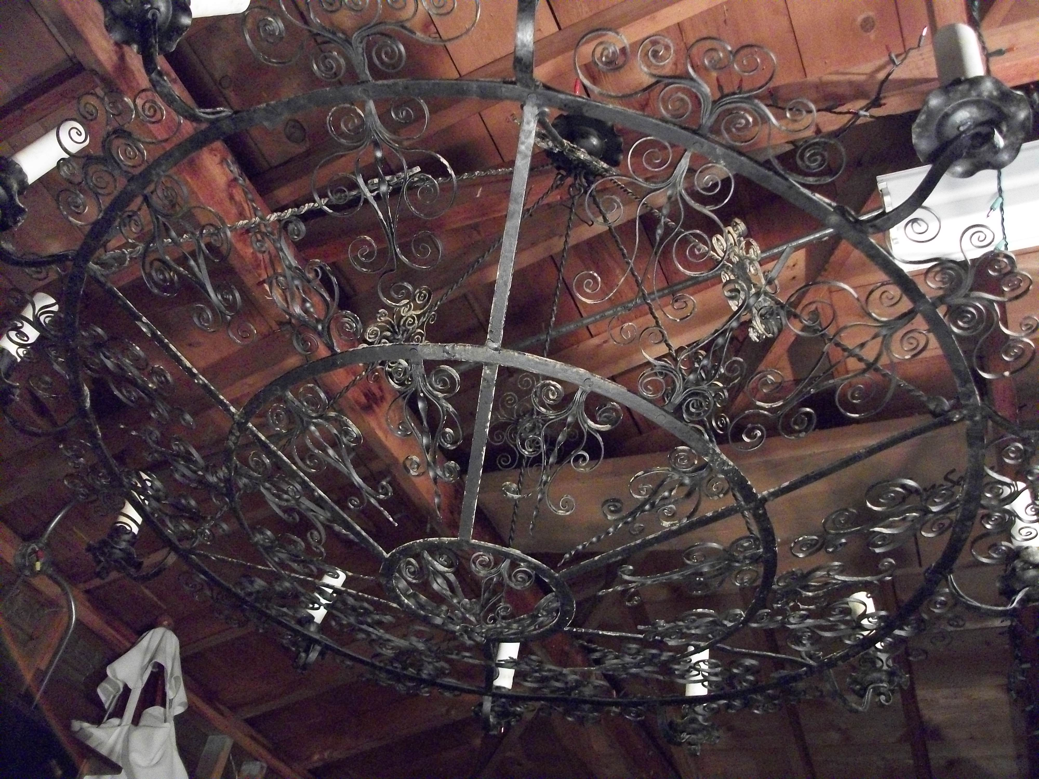 Antique wrought iron chandelier from about the 1920s made in israel antique wrought iron chandelier from about the 1920s made in israelnverted to electric with wiring in the 1950s i have photos any idea mozeypictures Image collections