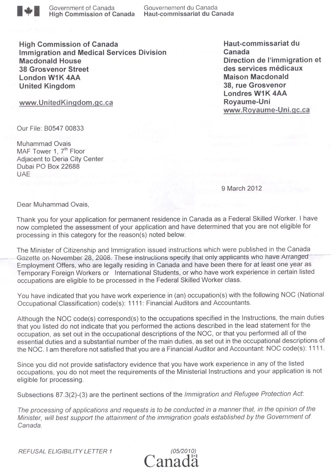 I Applied For The Immigration Under Skilled Worker Class In 2010 And Received A Refusal Letter From Cic London Dated 9th