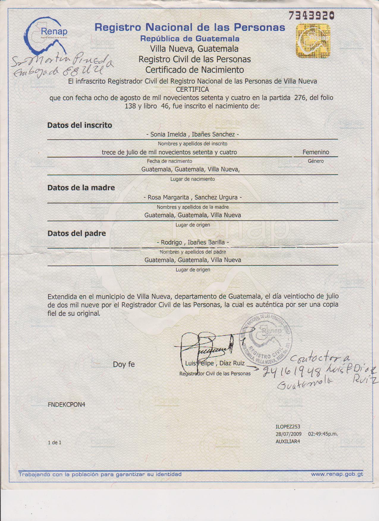 Moderno Sustitución De Certificado De Nacimiento Louisiana ...