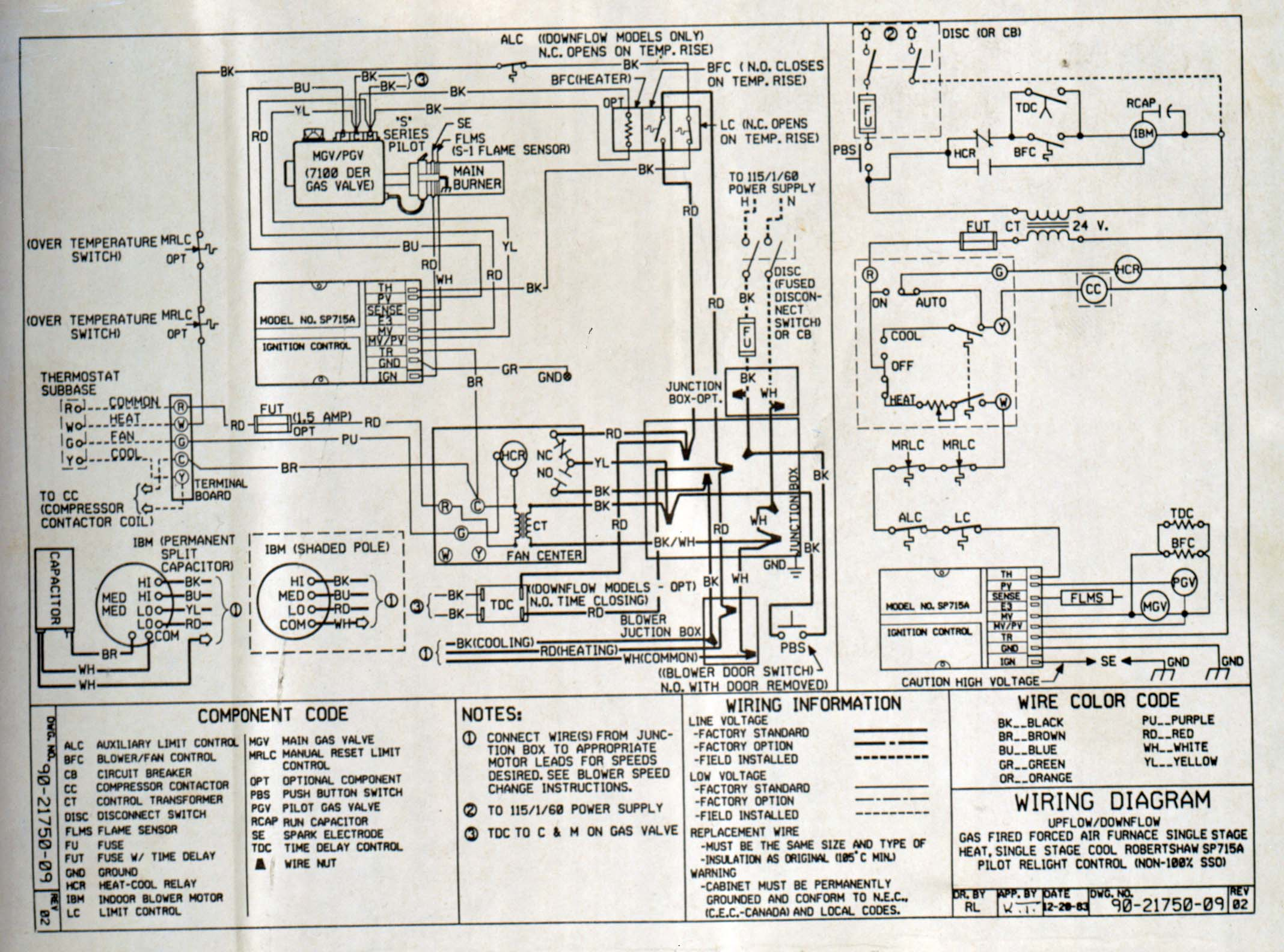 Here is the wiring diagram for the furnace and fan control. furnace