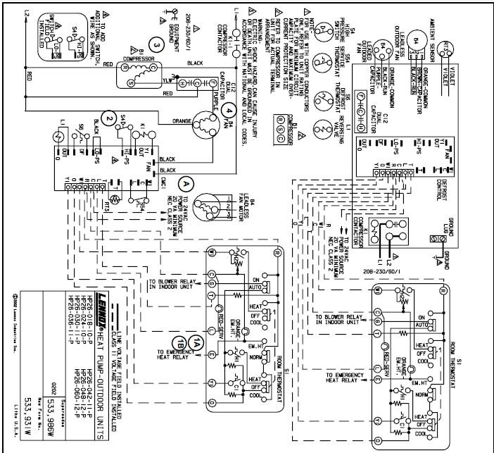 lennox heat pump wiring diagram thermostat