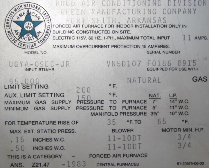 I U0026 39 M Replacing A Fan On My Very Old  1983  Ruud Forced Air Furnace Model Ugya