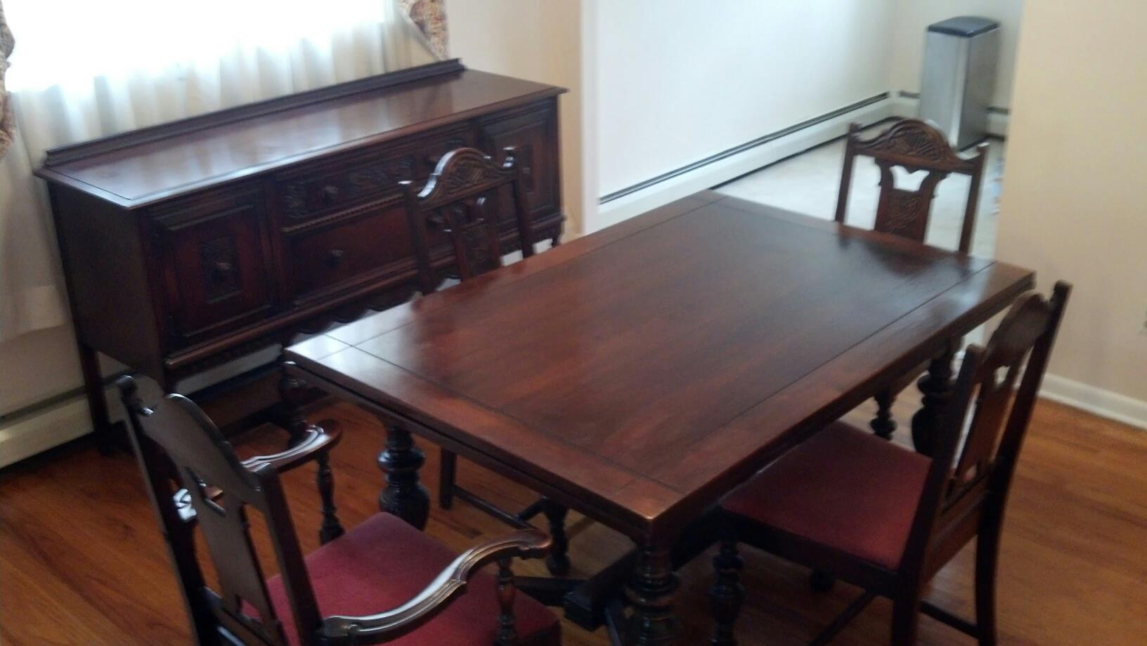 I have a 1940s vintage solid mahogany dining room set that for Antique dining room furniture