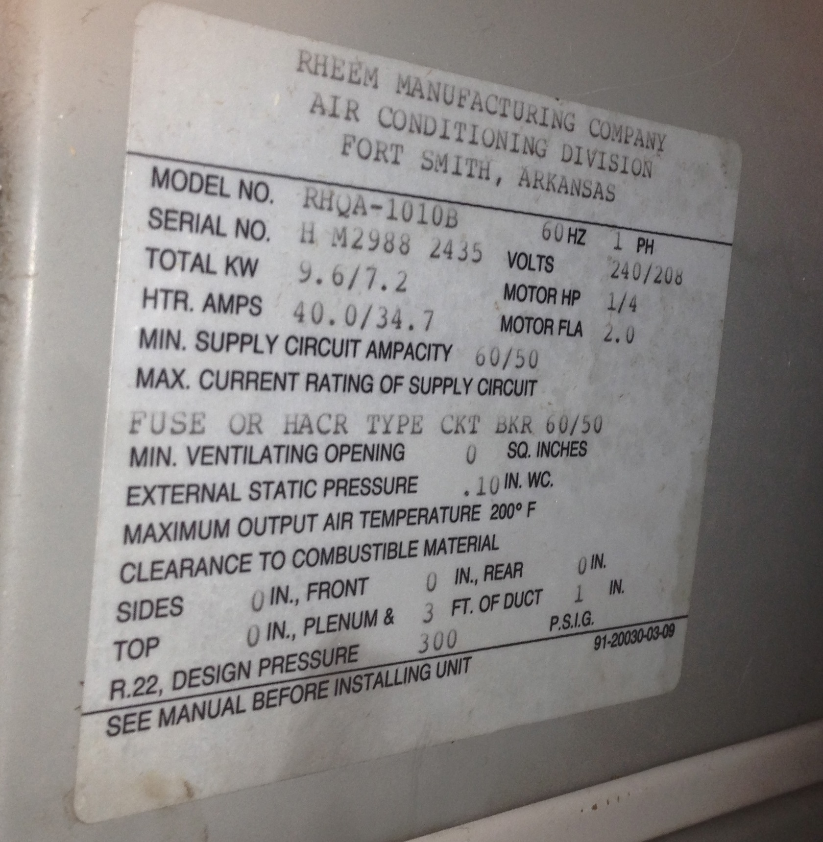 My Rheem Air Handler That Has Heat Pump With Auxiliary Has