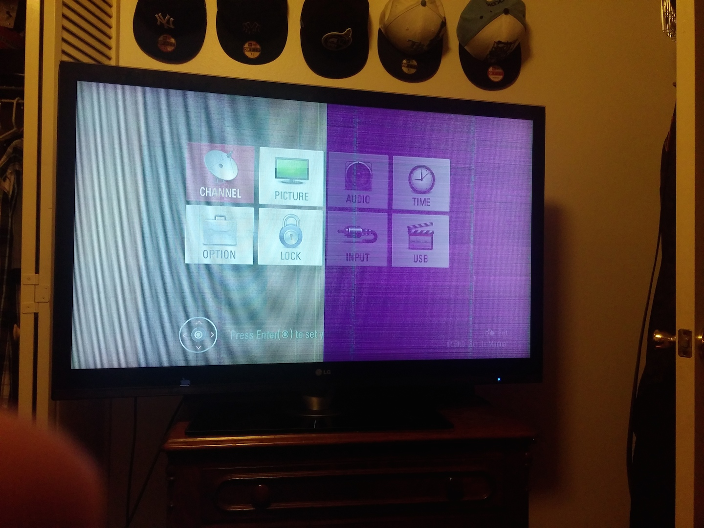 I have a 2009 lg 47sl85-ua flat screen  when i power on the tv i
